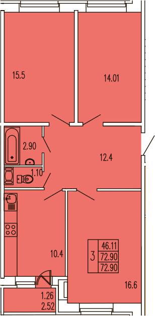 3-к.кв, 75.44 м²