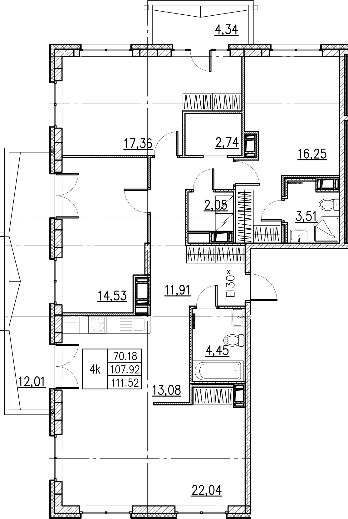 4-комнатная, 111.52 м²– 2