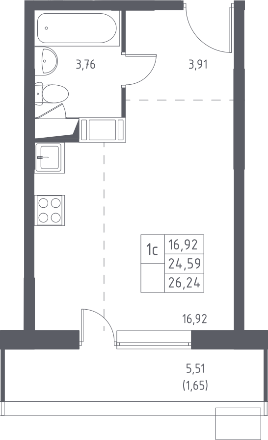 Студия, 30.09 м²