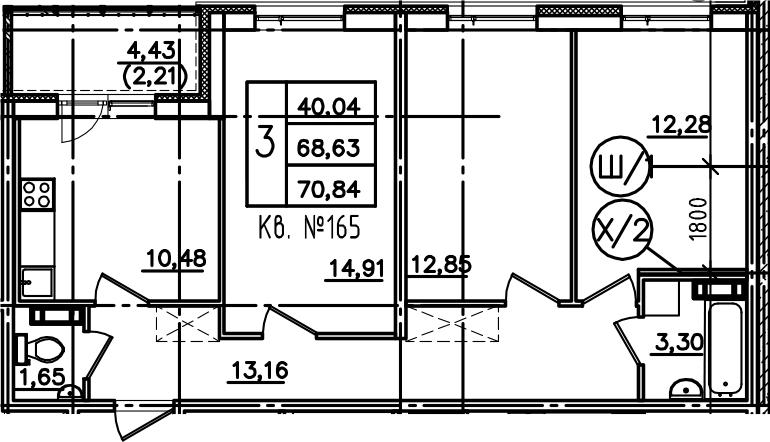 3-к.кв, 73.06 м²