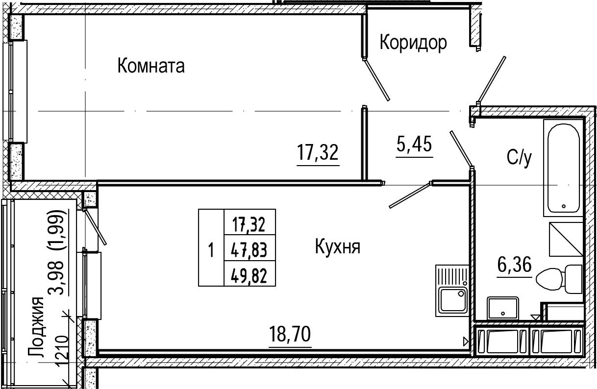 2Е-комнатная, 49.82 м²– 2