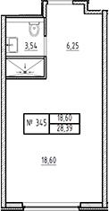 Студия, 28.39 м²– 2