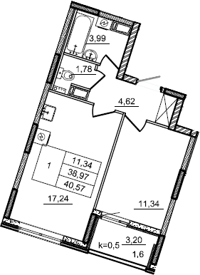 2Е-к.кв, 40.57 м², от 3 этажа