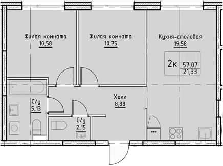 3Е-комнатная, 57.07 м²– 2