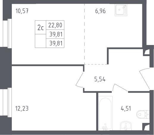 2Е-комнатная, 39.81 м²– 2