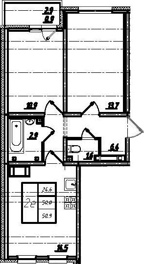 3Е-комнатная, 52.2 м²– 2