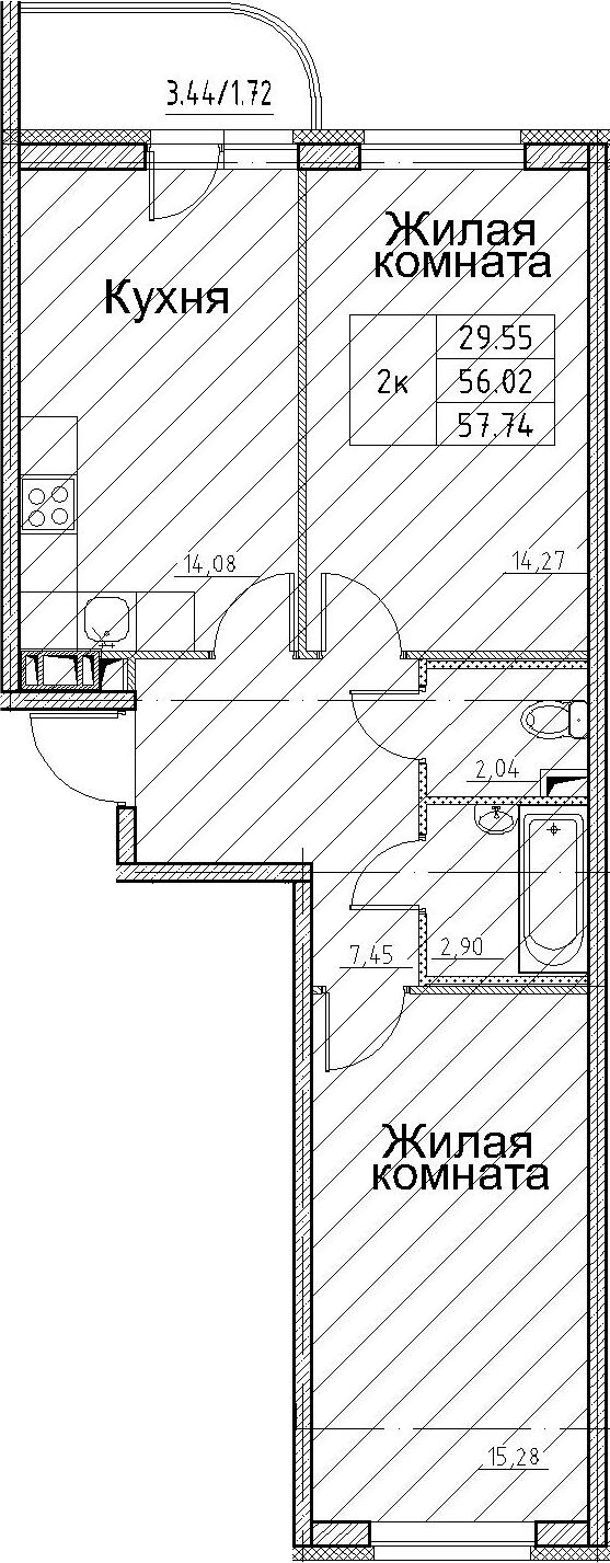 2-к.кв, 59.46 м²