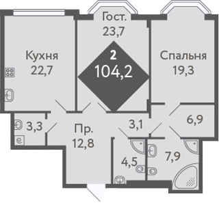 2-к.кв, 104.2 м²