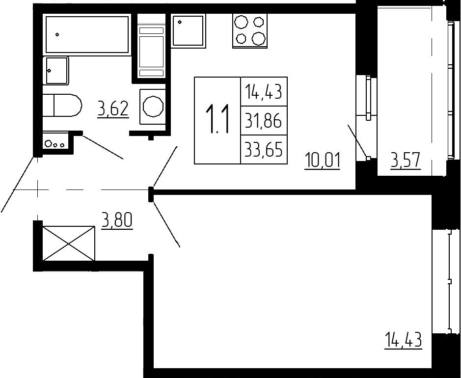 1-к.кв, 35.43 м²