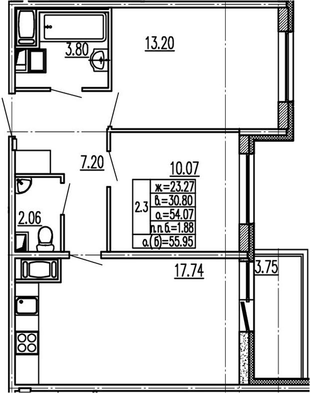 3-к.кв (евро), 57.82 м²
