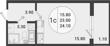 Студия, 24.1 м²