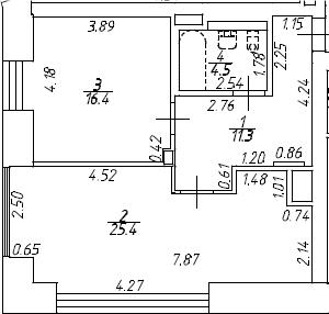 2Е-комнатная, 57.6 м²– 2