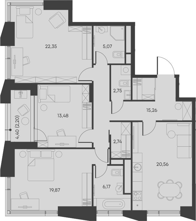 4Е-комнатная, 110.45 м²– 2