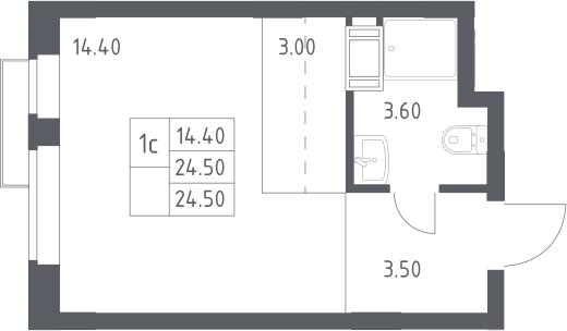 Студия, 24.5 м², 6 этаж – Планировка