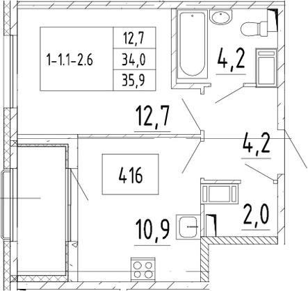 1-к.кв, 35.9 м², от 3 этажа