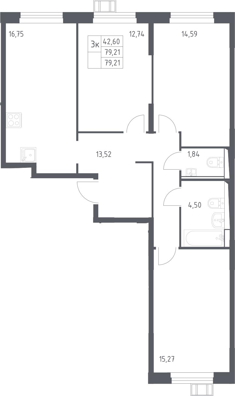 4Е-к.кв, 79.21 м²