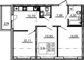 3-к.кв, 58.71 м²
