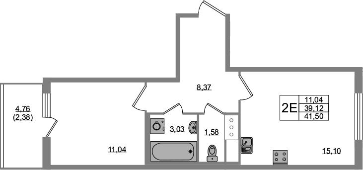 2Е-комнатная, 39.12 м²– 2