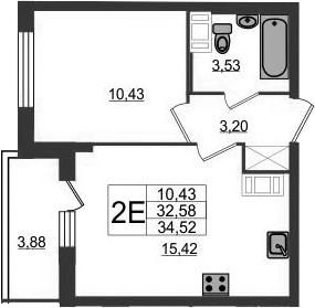 2-к.кв (евро), 36.46 м²