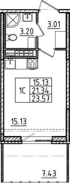 Студия, 23.57 м²
