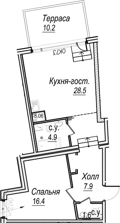 2Е-комнатная, 62.4 м²– 2