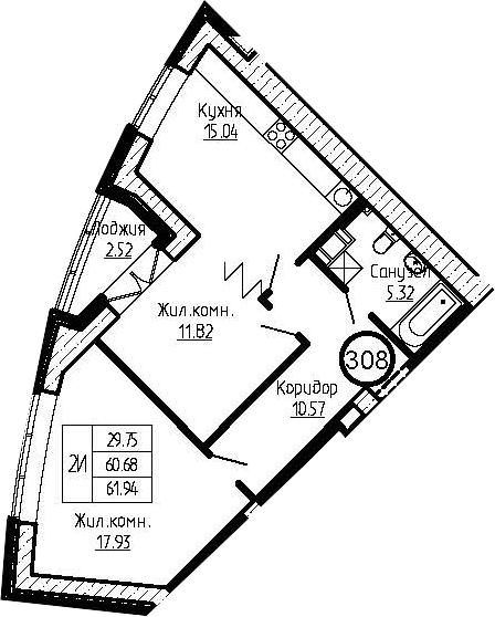 3-к.кв (евро), 63.2 м²