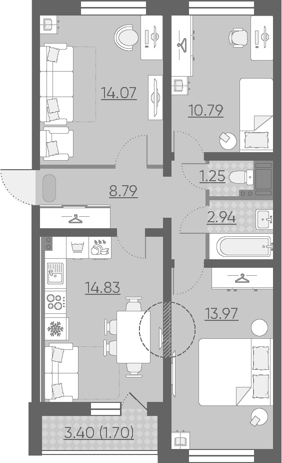 3-комнатная, 68.34 м²– 2
