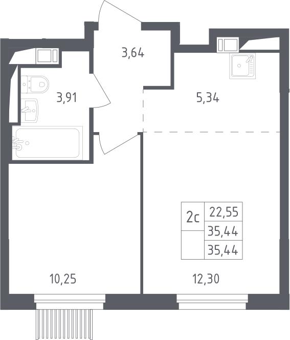 2Е-комнатная, 35.44 м²– 2