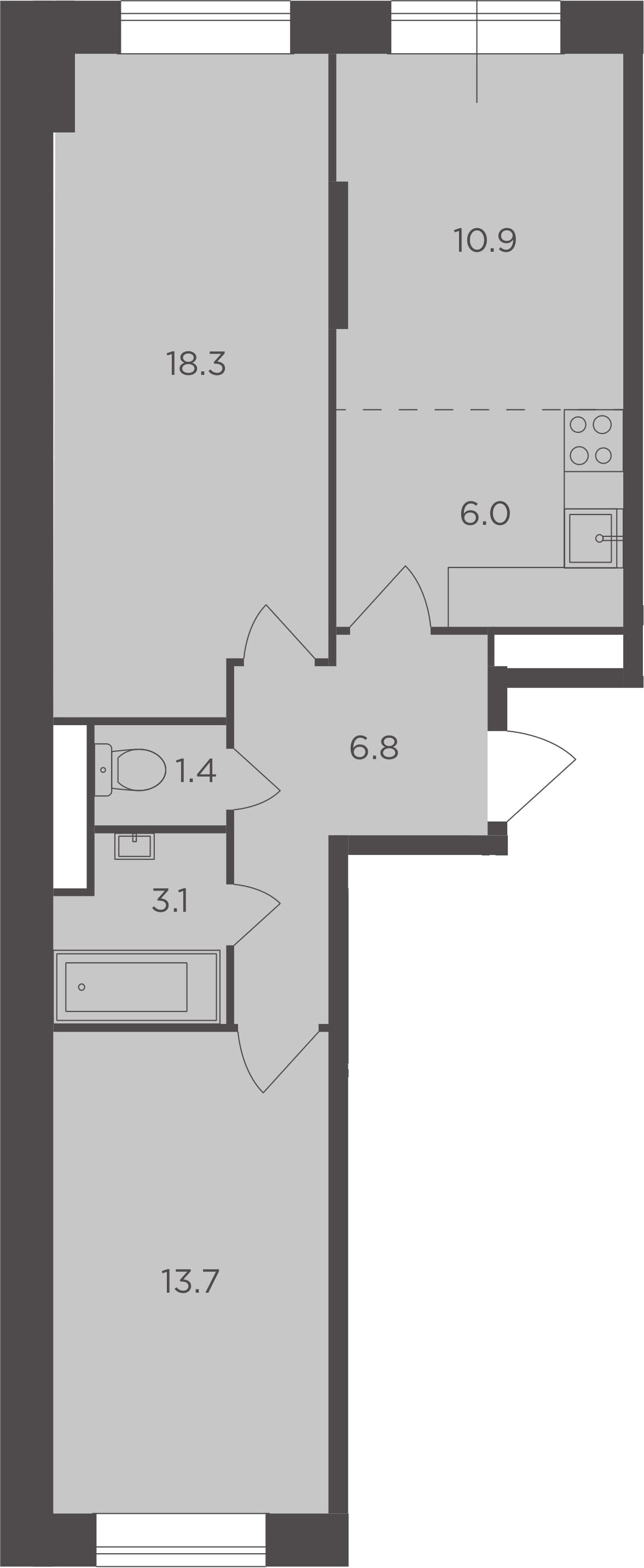 3Е-к.кв, 60.2 м², 1 этаж