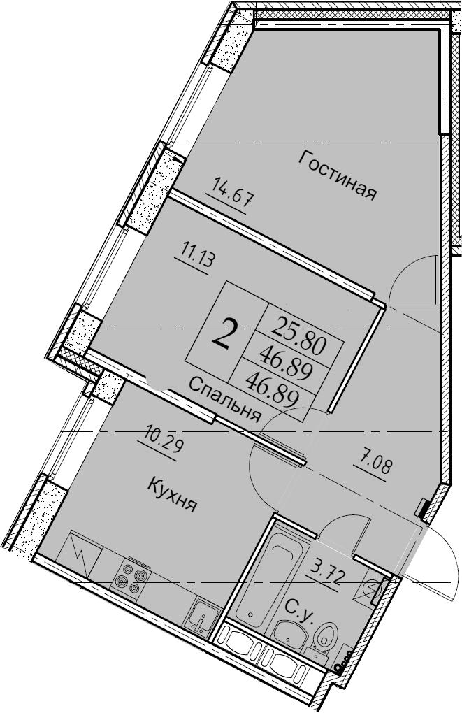 2-к.кв, 46.89 м²