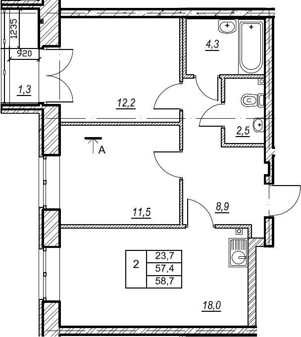 2-к.кв, 58.8 м², 2 этаж