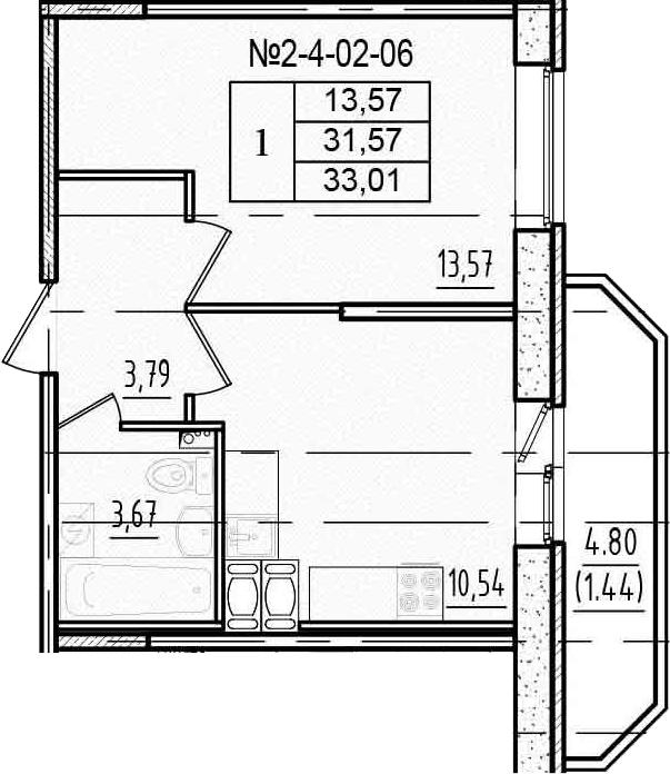 1-к.кв, 33.01 м²