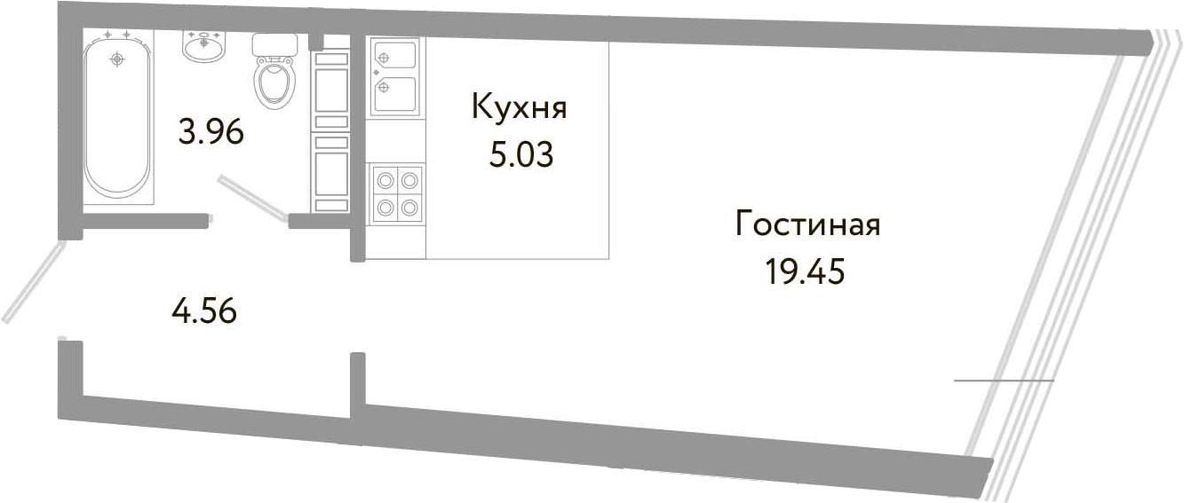 Студия, 33 м², 10 этаж