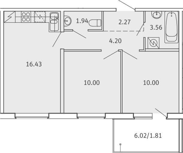 3Е-комнатная, 50.21 м²– 2