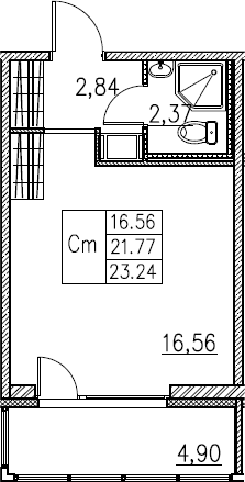 Студия, 23.24 м²– 2