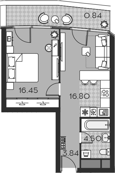 2Е-комнатная, 42.43 м²– 2
