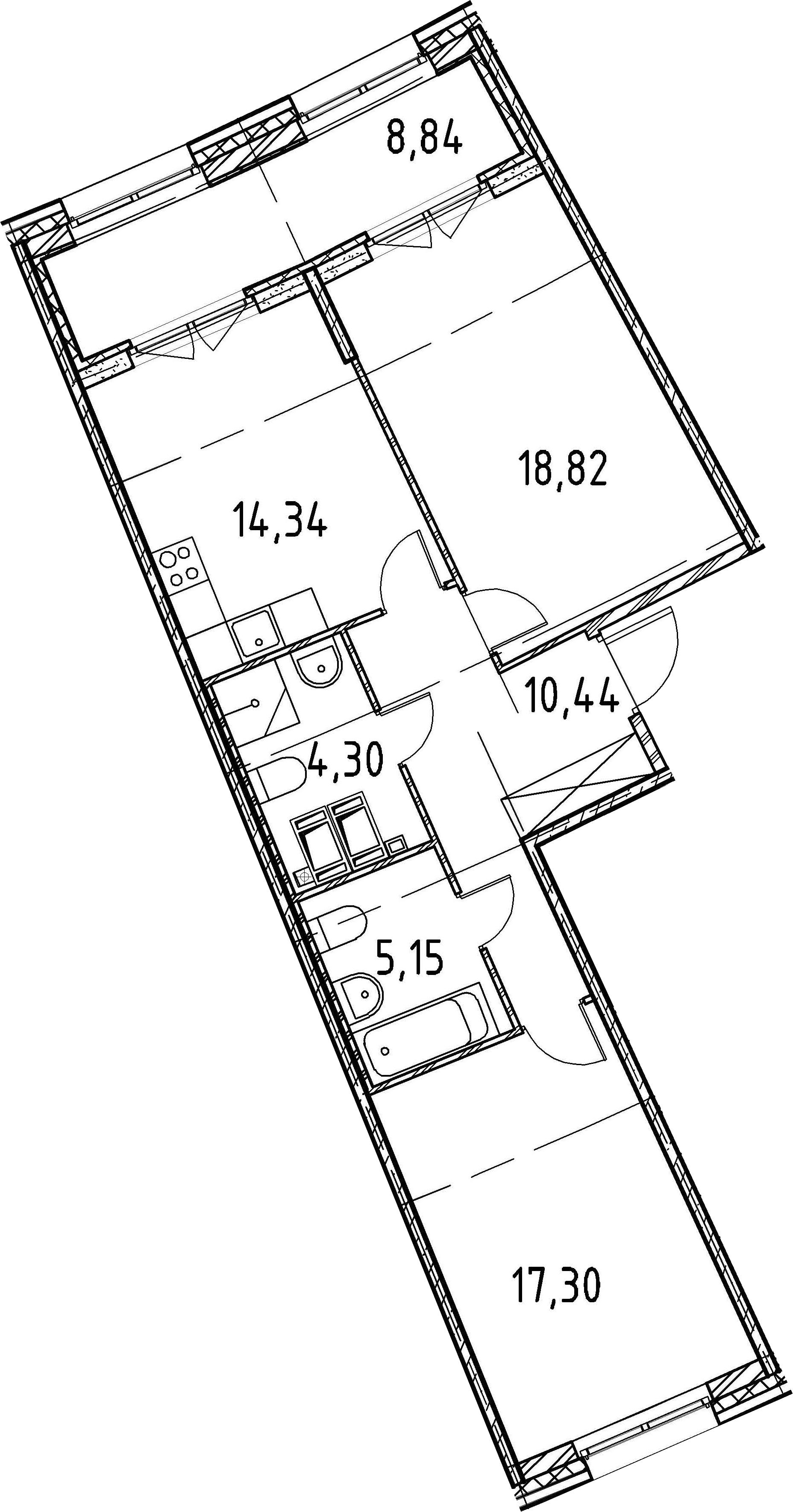 2-к.кв, 70.35 м²
