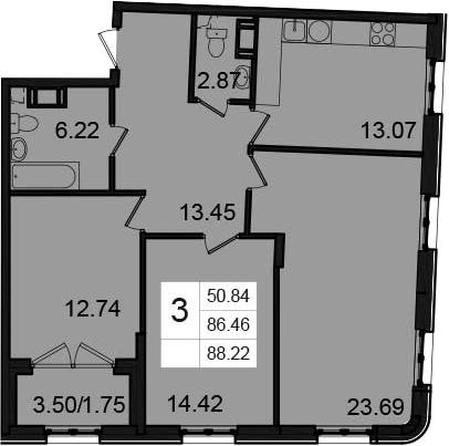 3-к.кв, 88.22 м²