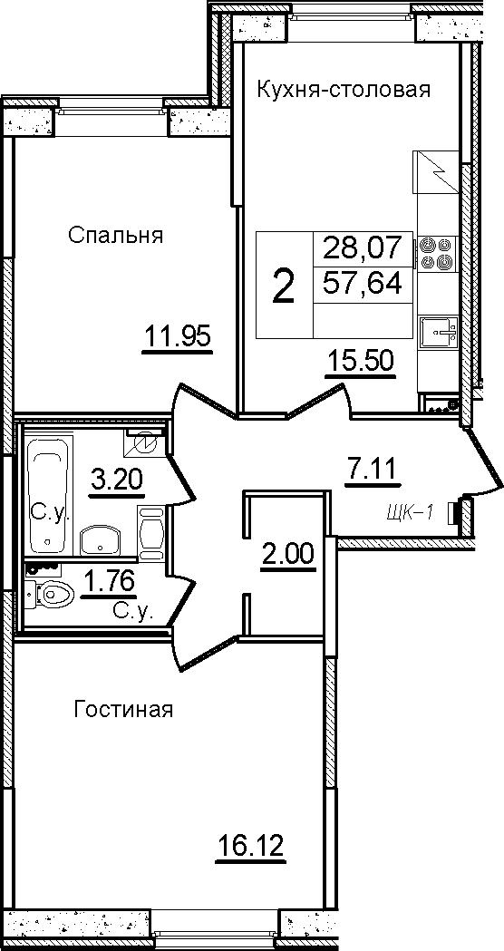 3Е-к.кв, 57.64 м²