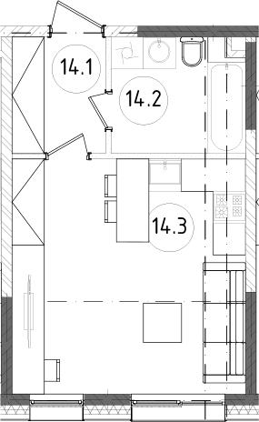 Студия, 28.12 м²– 2