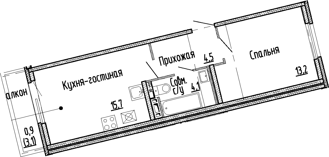 2Е-к.кв, 37.5 м², 2 этаж