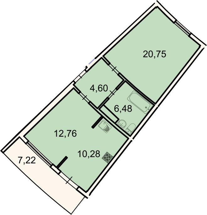 2Е-к.кв, 57 м², 2 этаж