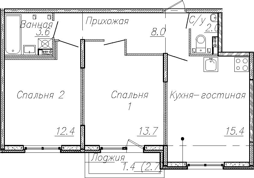 3Е-к.кв, 55.1 м², 2 этаж