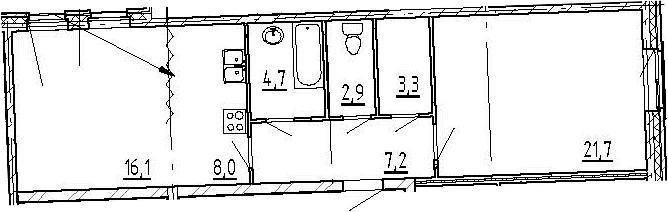 2-к.кв, 63.9 м², 2 этаж