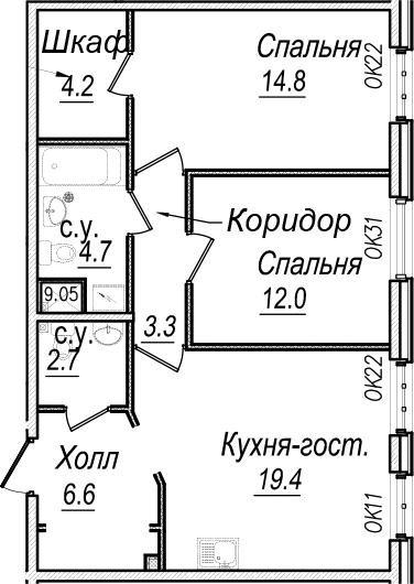 3-к.кв (евро), 67.7 м²