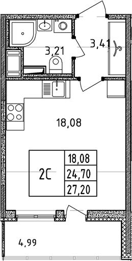 Студия, 24.7 м²– 2