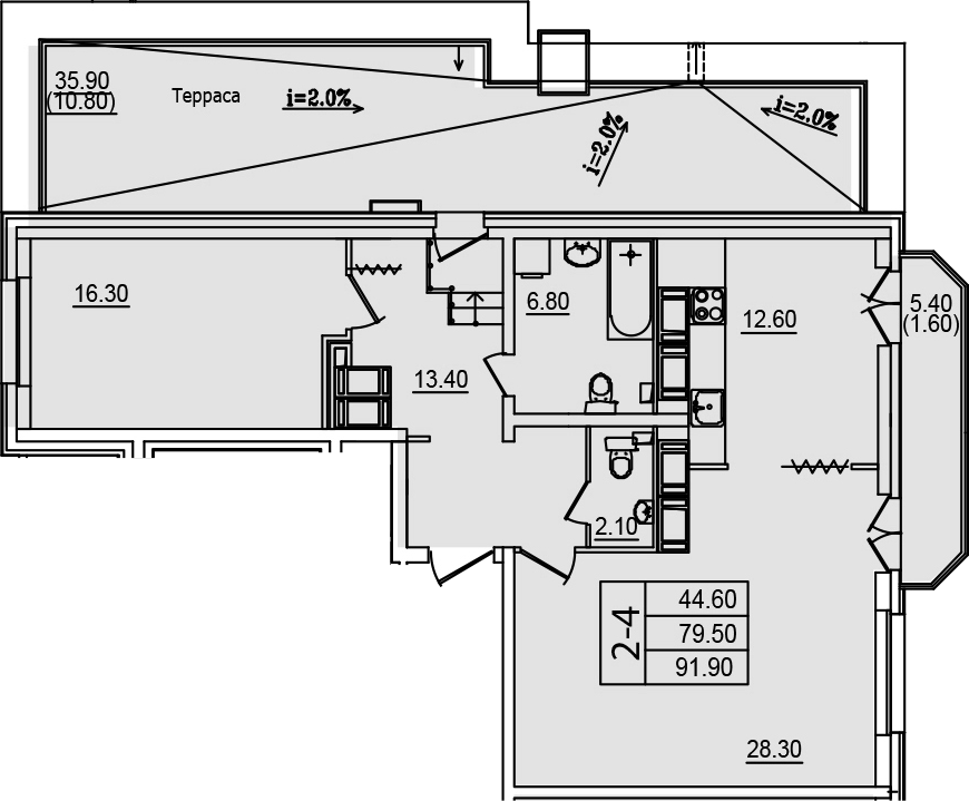 2Е-к.кв, 91.9 м²