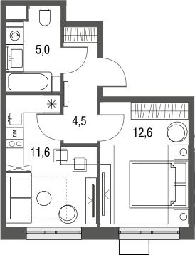 1-комнатная квартира, 33.7 м², 2 этаж – Планировка