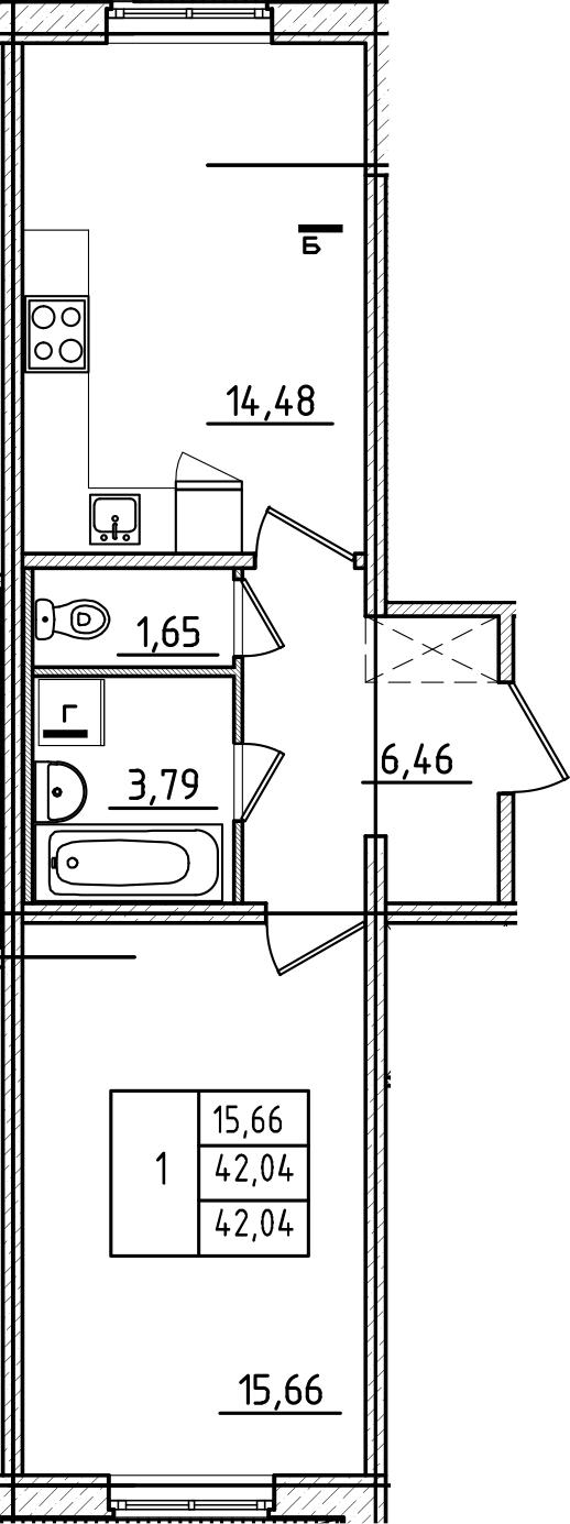 1-к.кв, 42.04 м²