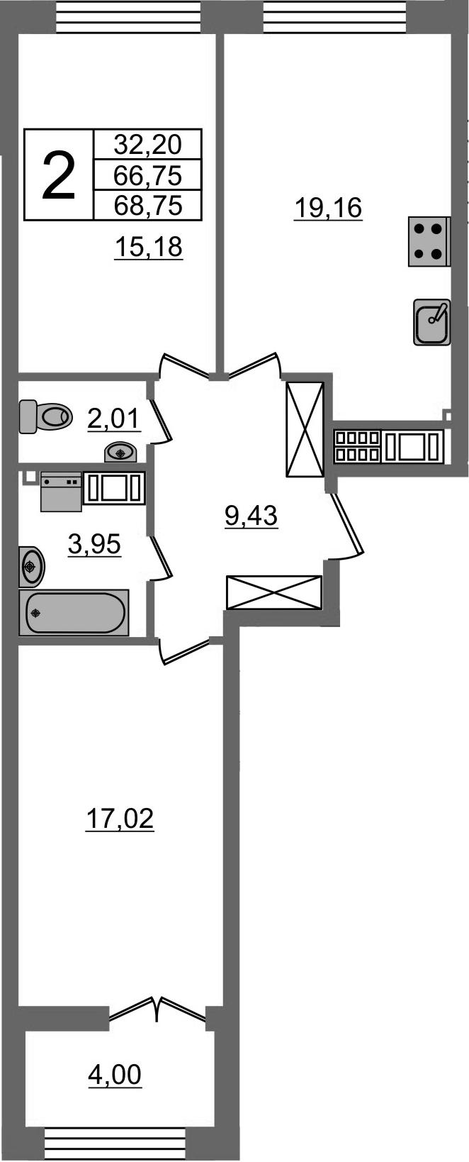 3Е-к.кв, 66.75 м²